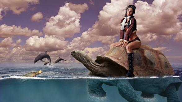 Обои Темноволосая девушка, сидящая на черепахе, плывущей по морю на фоне выпрыгивающих из воды дельфинов, неба с серыми, кучевыми облаками, закупоренной стеклянной бутылки с посланием, автор Mark Reyntiens
