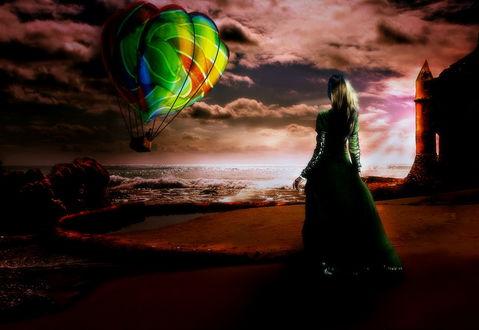 Обои Светловолосая девушка в длинном, зеленом платье, стоящая на скалистом, морском побережье на фоне парящего воздушного шара в пасмурном небе, автор mrscats