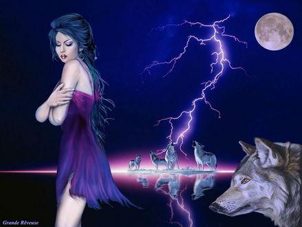 Обои Темноволосая девушка в легком платье, стоящая на фоне ночного неба с полной луной и сверкающих молний и стаи волков, воющих на луну, автор Grand Reveuse