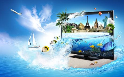 Обои Компьютерный монитор, стоящий на песчаном острове среди океана, с потоком воды, выливающимся из монитора вместе с рыбками, знаменитыми мировыми скульптурами (Эйфелева башня, Статуя Свободы, башня Биг-Бен и другими), летящего в небе пассажирского самолета, парящих в небе воздушных шаров, парусника, плывущего по воде