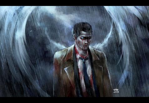 Обои Кастиэль / Castiel из фильма Сверхъестественное / Supernatural, art by NanFe