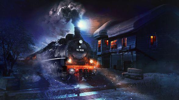 Обои Паровоз с включенными фарами, серым дымом из трубы, прицепленными пассажирскими вагонами, стоящий на рельсах, перегороженных деревянными брусками на фоне ночного неба с ярко светящейся луной
