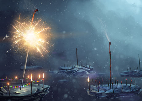 Обои Бенгальский огонь, воткнутый в льдину, художник Артем Артяков (sylar113)
