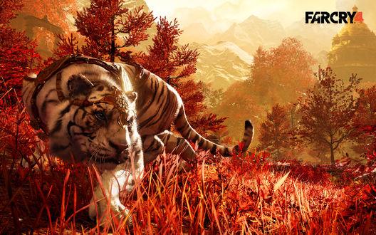Обои Тигр в амуниции среди осеннего леса на фоне старинного здания и заснеженных гор, FARCRY 4