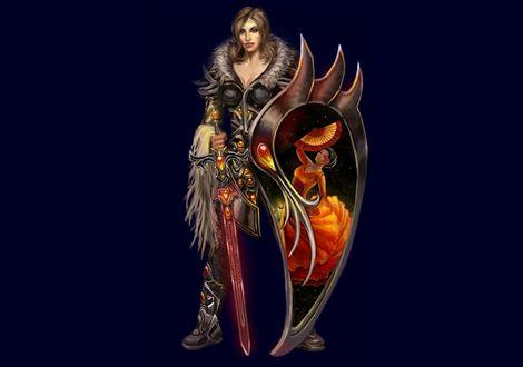 Обои Девушка воин стоит с мечом и щитом на синем фоне