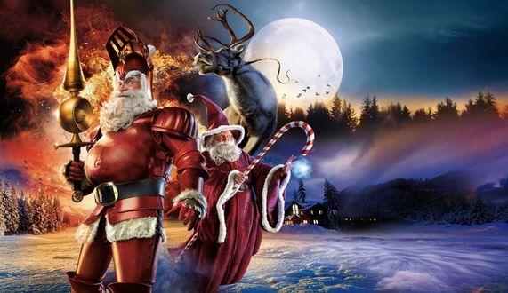 Обои Креативный Санта - Клаус в рыцарских доспехах, с мечом в руке, рядом волшебник проводит сеанс магии, за ними летит олень, изрыгая со рта языки пламени, за ними под горой на опушке леса стоит дом с освещенными окнами, на небе светит полная Луна, на фоне которой летят птицы