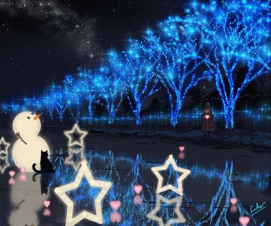 Обои Девочка с сердечком в руках стоит на берегу замерзшей реки, на льду которой сидит черная кошка, стоит снеговик и звезды