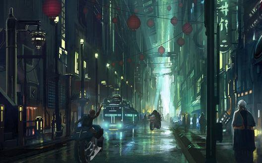 Обои Мотоциклисты, мчащиеся по мокрой дороге ночного города с висящими между домами фонарями