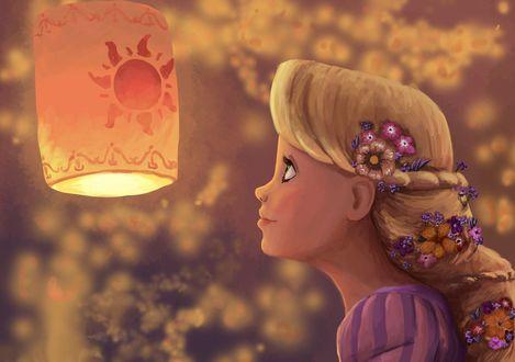 Обои Главная героиня американского, анимационного фильма Рапунцель: Запутанная история / Tangled, принцесса Рапунцель / Rapunzel, с восхищением смотрит на горящий, китайский фонарик