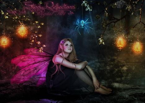 Обои Девушка-эльфийка с розовыми крылышками за спиной, наблюдает за свисающим на паутине у нее над головой пауком в окружении висящих на ветках кустов горящих фонарей, автор Steel-Reflections