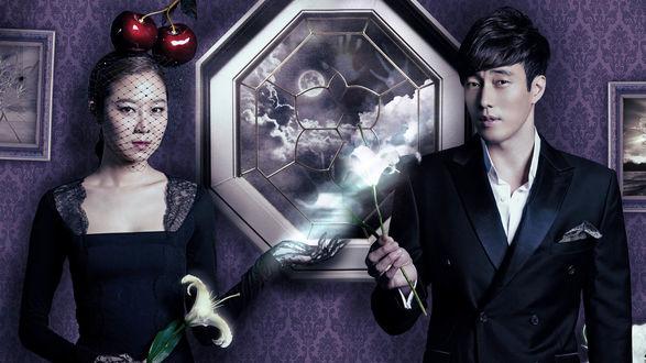 Обои Гон Хе Чжин / Gong Hyo Jin в роли Тхэ Гон Силь и Со Чжи Соп / So Ji Sub в роли Чжу Чжун Вона из дорамы Властитель солнца / The Masters Sun / Joogooneui Taeyang