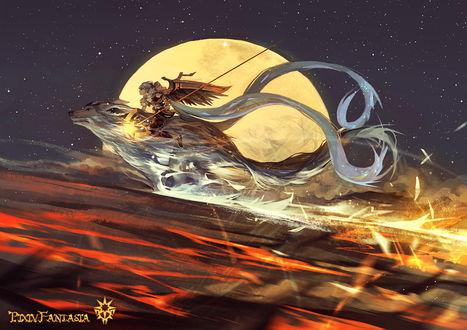 Обои Ангел с оружием в руках летит на белом волке на фоне луны, арт от Pixiv Fantasia