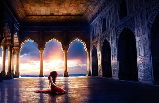 Обои Девушка сидит на полу в каком- то замке, by chaos-flare