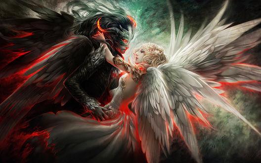 Обои Дьявол и ангел с красивыми крыльями, танцуют