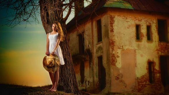 Обои Девушка в белом платье, стоит прислонившись к дереву