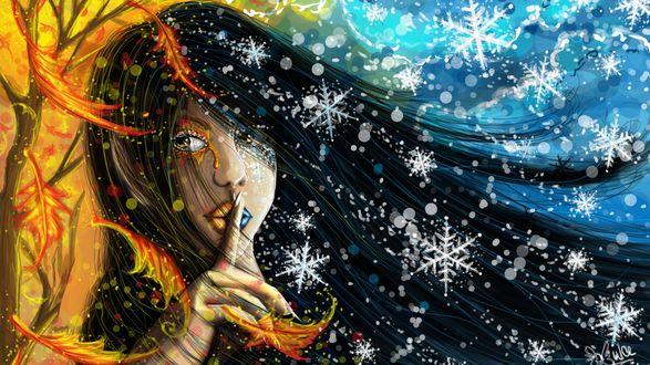 Обои Темноволосая девушка осень-зима прижала палец к губам