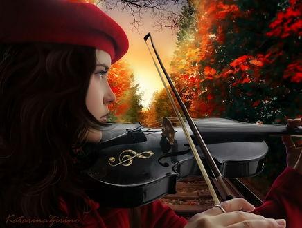 Обои Темноволосая девушка в красном берете, стоящая на железнодорожном пути, играющая на скрипке на фоне закатного неба и деревьев с красной, осенней листвой, автор Katarina-Zirine