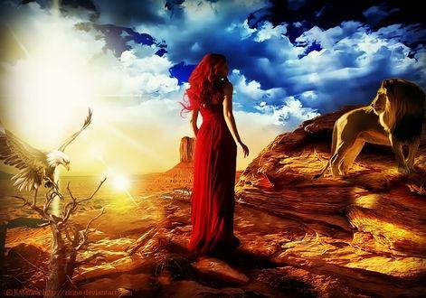 Обои Девушка, стоящая на каменистом выступе напротив стоящего льва, сзади на сухой ветке низкорослого дерева сидит орел на фоне ослепительных, солнечных лучей и синего неба с кучевыми облаками, автор Katarina-Zirine