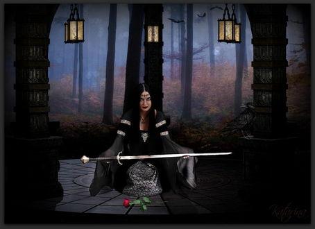 Обои Черноволосая девушка, присевшая на корточки, держащая в руках острый меч с лежащей перед ней алой розой на фоне деревьев в сумеречном лесу, висящих, горящих фонарях, черном вороне, сидящем на камне, автор Katarina-Zirine
