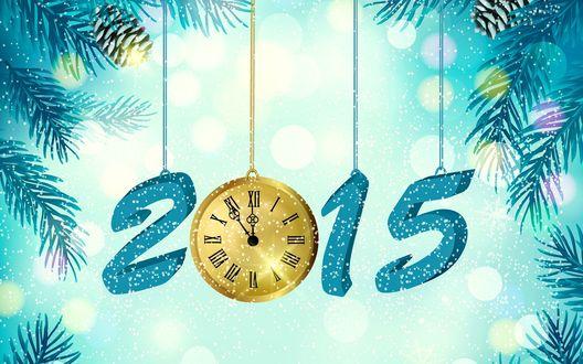 Обои Число 2015 знаменующее новый год, часы, ветки сосны, идет снежок