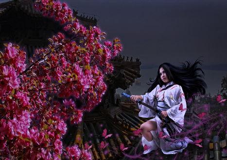 Обои Черноволосая девушка в белом кимоно в окружении красных бабочек, достающая из ножен катану. сидящая возле цветущей сакуры, автор Cellest 84