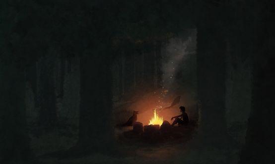 Обои Мальчик с собакой, сидящие в ночном лесу возле горящего костра
