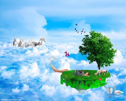 Обои Мальчик, лежащий на скалистом куске зеленого островка с растущим деревом, гуляющими собаками, парящим в небе с белыми облаками в окружении белых лебедей, лодки с надувным утенком и скачущего табуна лошадей, (PARADISE / Рай) , автор bataulai