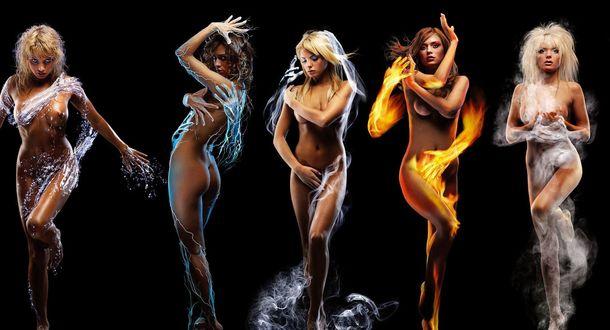Обои Обнаженные девушки, которых обнимают руки пяти стихий, вода, дым, холод, туман, огонь
