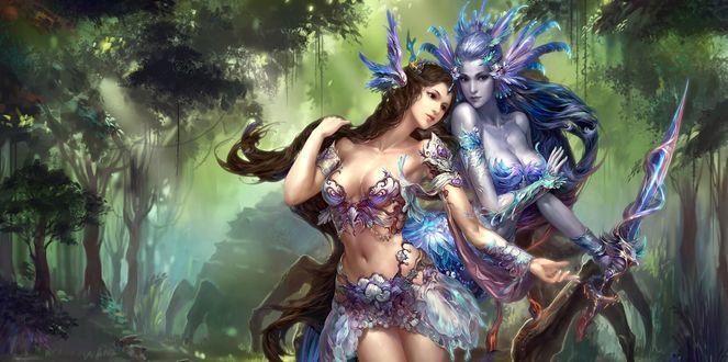 Обои Две девушки воины, с мечом в руке сидят в сказочном лесу