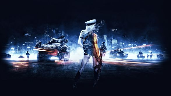 Обои Девушка в коротком платье, военной фуражке, с автоматом в руке стоит посреди дороги, навстречу ей едут танки, идут солдаты, летят самолеты