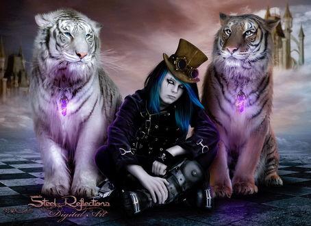 Обои Готический мужчина с синими, длинными волосами и коричневой шляпе с черными очками, сидящий между двумя тиграми на фоне замка и пасмурного неба, автор Steel-Roflections