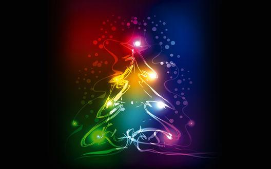 Обои Новогодняя ель из неоновых огней