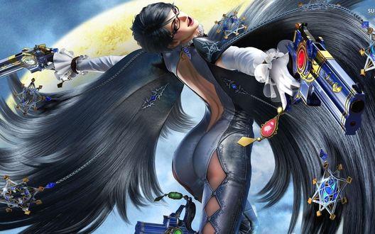 Обои Девушка героиня из игры Bayonetta 2 стреляет из пистолетов с обеих рук, по- македонски
