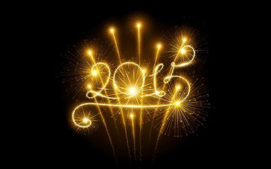 Обои Фейерверк в ночном небе, вычеркивающий цифры 2015