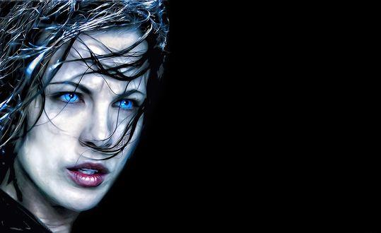 Обои Кейт Бекинсейл / Kate Beckinsale / c голубыми глазами в фильме Другой мир