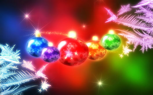 Обои Ёлочные игрушки-шарики, и морозные узоры на радужном фоне