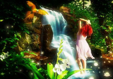 Обои Рыжеволосая девушка в белом платье, закинув руки за голову, стоящая в воде падающего водопада, любуется красивым попугаем ара, автор Cellest 84
