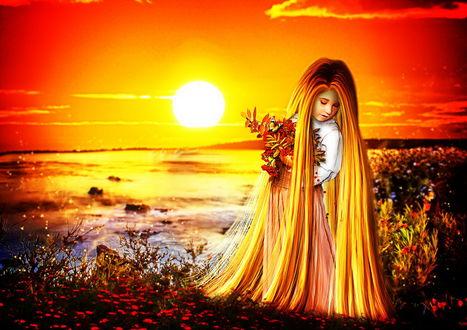 Обои Девочка с длинными, светлыми волосами, держащая в руках охапку веток с красными листьями и ягодами, стоящая на берегу моря на фоне ослепительных лучей солнца на вечернем небосклоне, автор Cellest 84