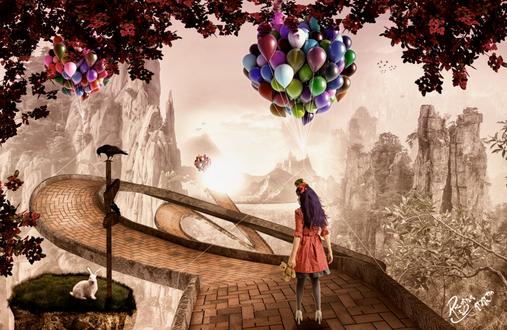Обои Девушка, держащая в руке плюшевую собачку, идущая по каменному, извилистому мосту, проложенному среди скал с висящим связками цветных, воздушных шариков, небольшими каменными утесами с сидящим на одном из них белым кроликом, сидящей вороной на дорожном указателе, автор Reginacamargo