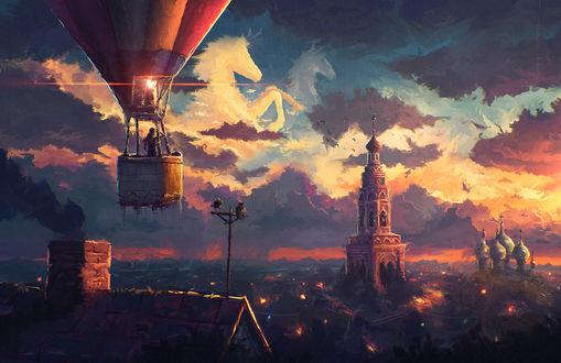 Обои Девушка летит на воздушном шаре над вечерним городом, художник Артем Артяков (sylar113)