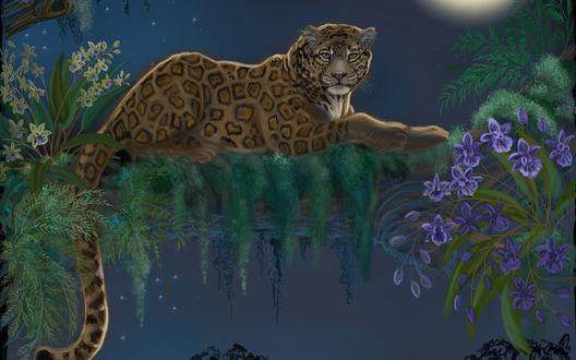 Обои Леопард лежит на дереве, рядом с цветами