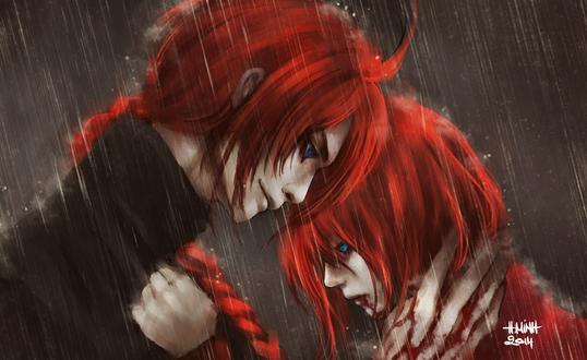 Обои Кагура / Kagura и Камуи / Kamui из аниме Гинтама / Gintama, art by NanFe