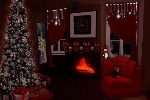 Обои Грустный, одинокий котенок, сидящий в кресле в комнате с горящим камином, наряженной новогодней елкой, автор marphilhearts