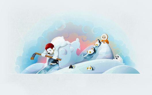 Обои Белый медведь с хоккейной клюшкой, пингвины, морж катаются на ледяных горках