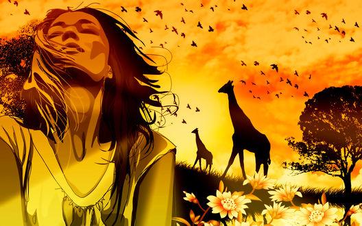 Обои Девушка с развевающимися от ветра волосами, стоящая в цветочном поле со стоящими возле дерева жирафами на фоне заката на вечернем небосклоне и парящих в воздухе птиц