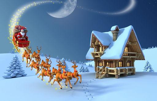 Обои Телега, запряженная оленями с сидящим в ней Санта-Клаусом / Santa Claus с новогодними и рождественскими подарками, спускается по Млечному пути с ночного неба с полумесяцем, проезжая мимо деревянного домика с заснеженной крышей в окружении елей