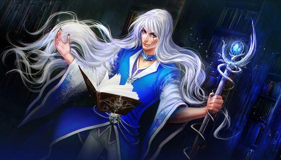 Обои Парень с длинными, белыми волосами, с татуировками на лице, стоящий перед открытой колдовской книгой, держащий в руке посох со светящимся магическим шаром