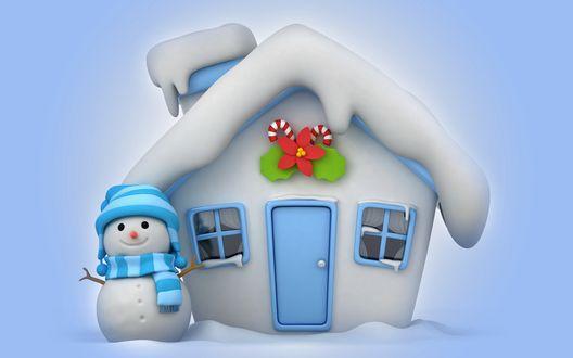 Обои Ледяная избушка с заснеженной трубой и крышей, новогодними атрибутами над входной дверью, стоящим возле избушки снеговиком в вязанной шапочке и цветном шарфике