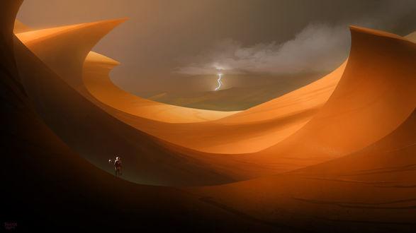 Обои Среди песчаных барханов неизвестной планеты стоит космонавт в скафандре, на небе сверкает молния, Balaskas 2014