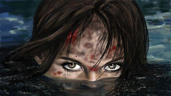Обои Девушка со ссадинами на лице плывет в воде